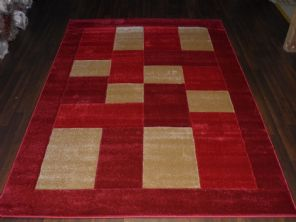 BLOCKS RANGE WOVEN RUG HAND CARVED APROX 6X4FT 120X170CM RED/BEIGE GREAT RUGS